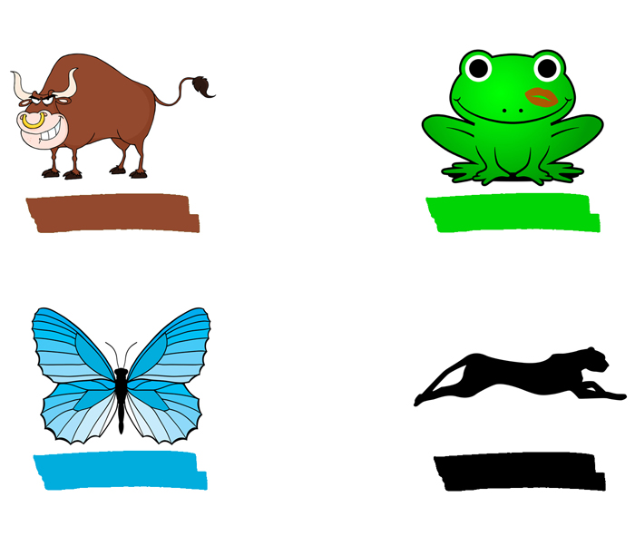 Panda, frog, butterfly, panther