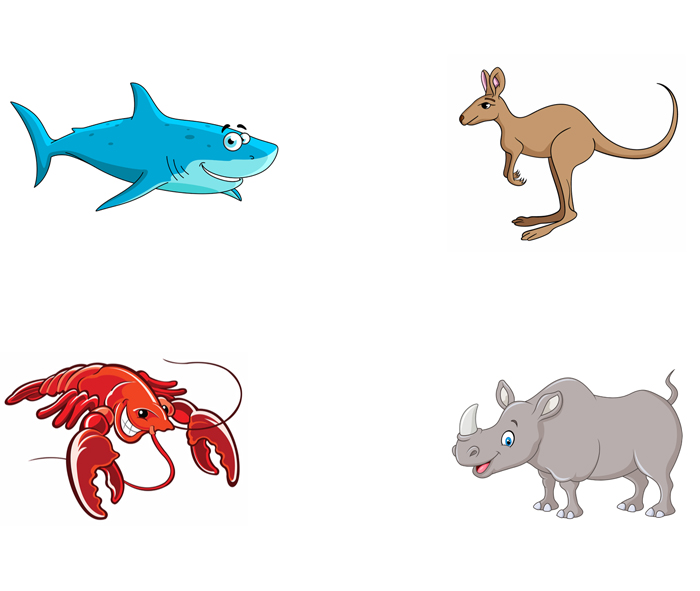 Shark, kangaroo, lobster, rhinoceros