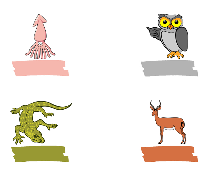 Squid, owl, lizard, antelope